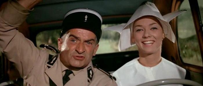 Из фильма в фильм мсье Крюшо встречается монахиня, ее роль сыграла Франс Румийи, а часть сцен была снята с привлечением каскадеров