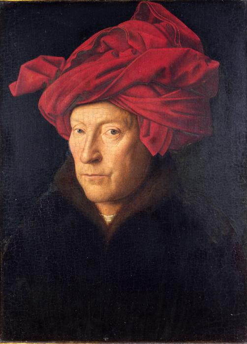 """Ян ван Эйк. """"Портрет мужчины в красном тюрбане"""", возможно, автопортрет"""""""