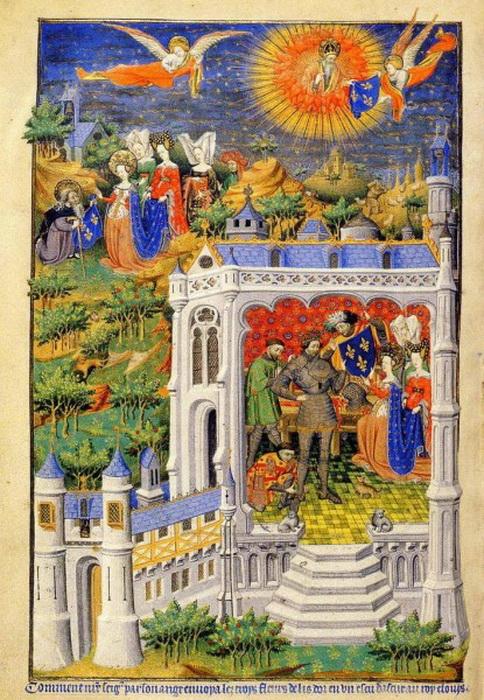 Хлодвиг получает щит с лилиями - будущим символом французских королей