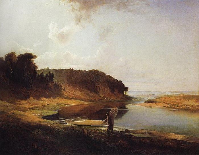 А.К. Саврасов «Пейзаж с рекой и рыбаком»