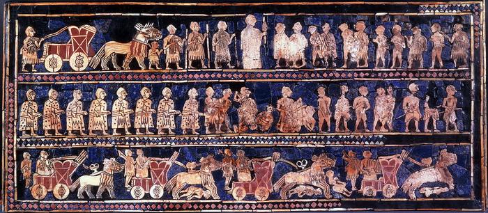 Один из двух шумерских штандартов войны и мира, III тыс. до н.э.