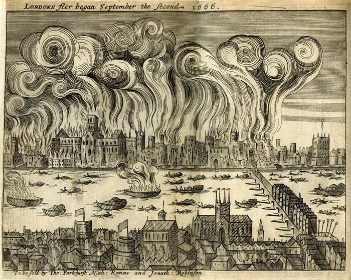 2 сентября 1666 года Лондон загорелся