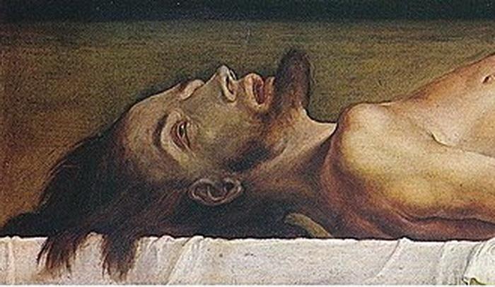Г. Гольбейн-мл. Мертвый Христос во гробу (фрагмент)