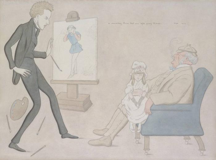 М. Бирбом. Карикатура, где Милле обвиняют в эксплуатации популярного в Англии образа