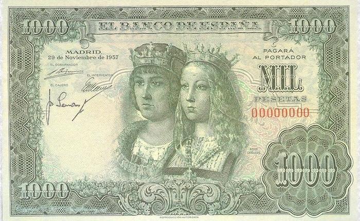 Испанская банкнота 1957 года с изображением католических королей