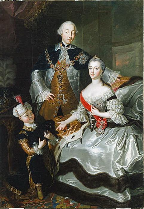 Великая княгиня Екатерина Алексеевна с супругом и сыном Павлом