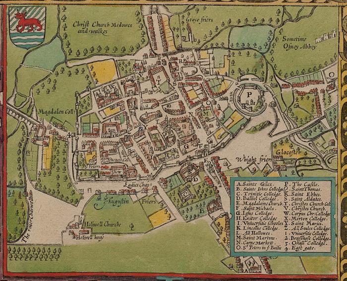 Карта Оксфорда XVII века. Часть университетских зданий находится за пределами городской стены