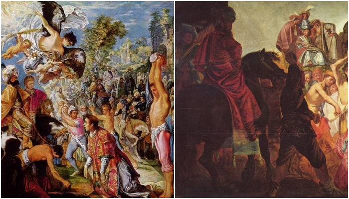 """Фрагменты картин А. Эльсхаймера и Рембрандта """"Побиение камнями Святого Стефана"""", слева - работа Эльсхаймера, справа - Рембрандта"""