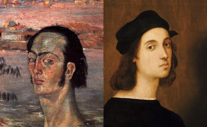 Автопортрет Дали (1921) и послуживший источником вдохновения автопортрет Рафаэля