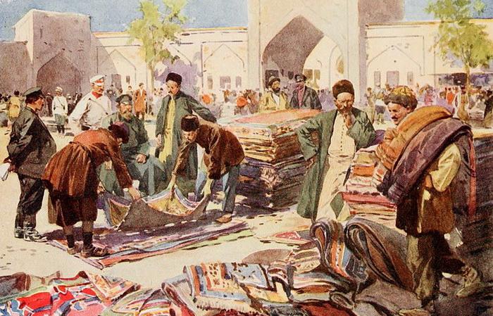 Ф. де Ханен. Рынок ковров в Астрахани. 1913. Источник: wikipedia.org