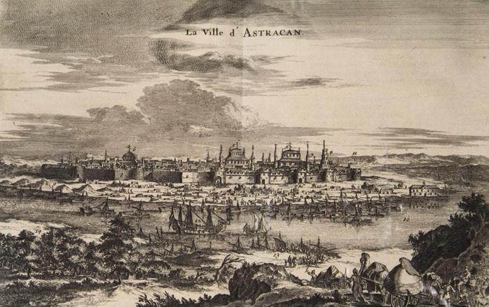 Астрахань в XVII веке. Гравюра. Источник: commons.wikimedia.org
