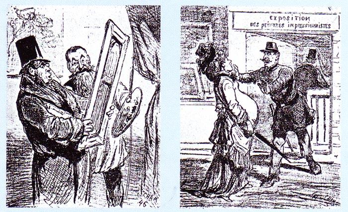 """Карикатуры на выставку """"импрессионистов"""", Le Charivari, 1874"""