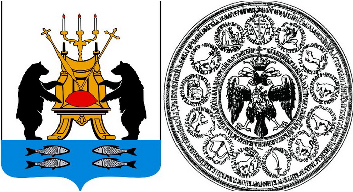Современный герб Новгорода. На Большой печати первоначальному варианту герба было отведено место над левой головой орла. Источник: wikipedia.org