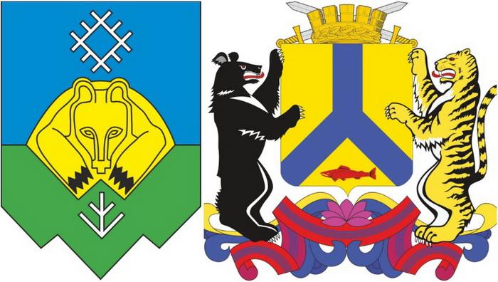 Гербы городов Сыктывкар и Хабаровск. Источник: wikipedia.org