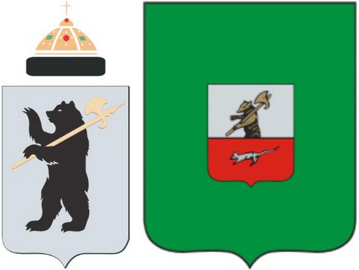 Слева - герб Ярославля, справа - герб города Мышкина Ярославской области. Источник: wikipedia.org