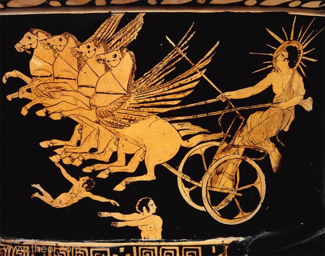 Классическое изображение Гелиоса на древнегреческой амфоре