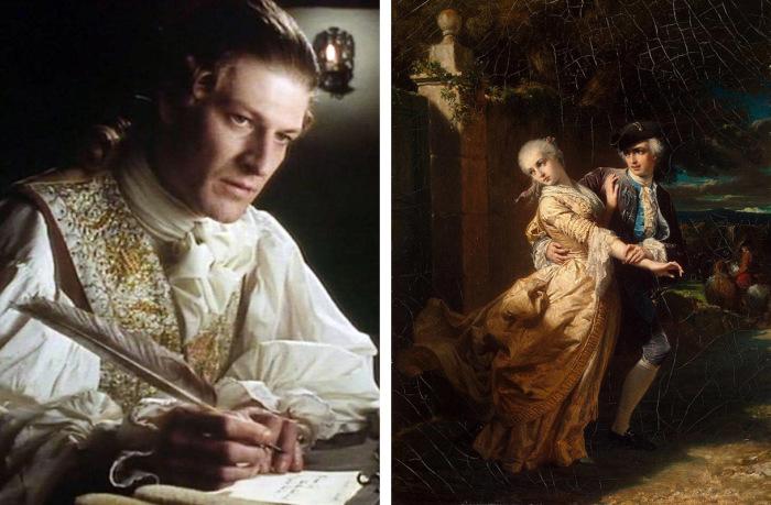 Шон Бин в роли Роберта Ловеласа, фильм «Кларисса», 1991 г. и картина Луи Эдуард Дюбюф  «Похищение Ловеласом Клариссы Гарлоу»