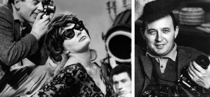 Кадр из фильма «Сладкая жизнь», 1960 г. и прототип одного из героев - фотограф Тацио Секкьяроли