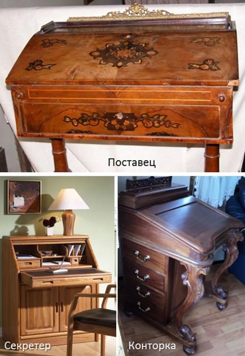 Предметы мебели, предназначенные для письма