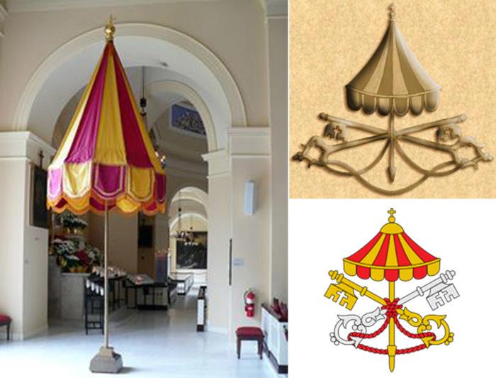 Зонт – символ светской папской власти на гербах  Sede vacante (время избрания нового папы) и в базилике