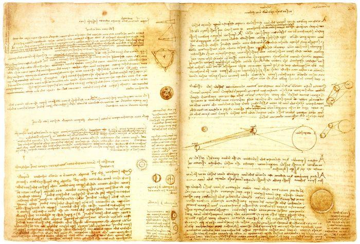 Страница из Лестерского кодекса Леонардо да Винчи, ок. 1506 г.