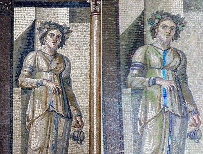 Древнеримские фрески из Турции, до и после реставрации