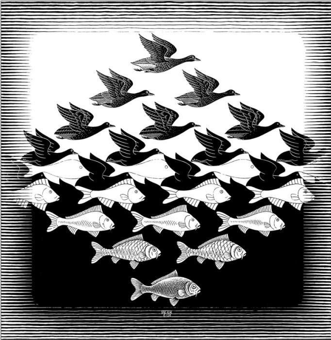 Мауриц Эшер «Небо и вода» (1938 г.)