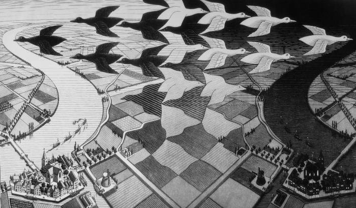 Продольная ксилография «День и ночь» (1938 г.)