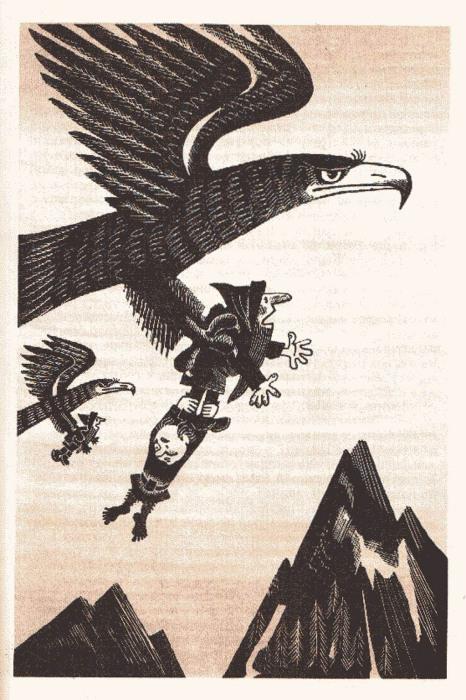 Иллюстрации Михаила Беломлинского «Хоббит, или Туда и обратно», 1976 год, издательство «Детская литертаура»