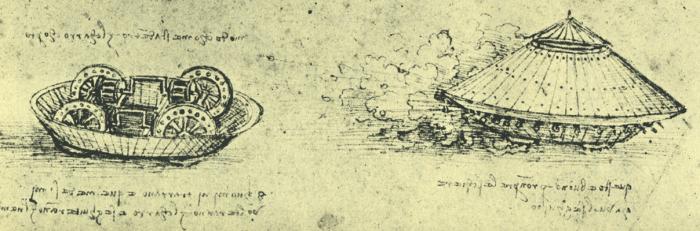 Прототип танка - тяжелый фургон в форме черепахи, вооруженный со всех сторон пушками и окованный броней. Экипаж должен был состоять из 8 человек.