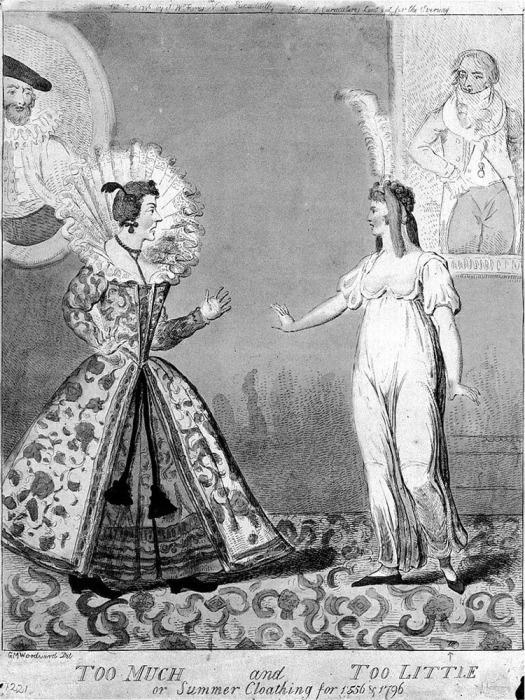 Гравюра  Исаака Крукшенка «Слишком много и слишком мало, или летняя одежда 1556 и 1796 годов» (На основе рисунка Джорджа Маутарда Вудворда)