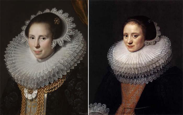 Гигантские кружевные воротники вошли в моду в Испании в конце XVI века