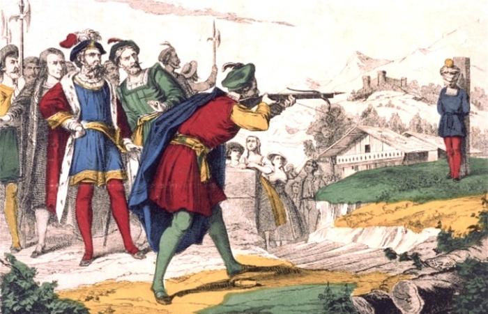 Раскрашенная гравюра «Вильгельм Телль сбивает яблоко с головы своего сына»