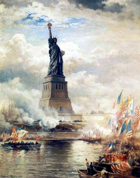 Э. Моран, «Открытие статуи Свободы»