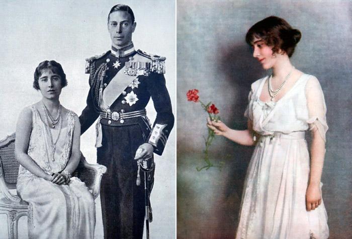 Официальное фото по случаю помолвки принца Альберта (будущего Георга VI) и леди Элизабет Боуз-Лайон, январь 1923 г. и портрет леди Элизабет
