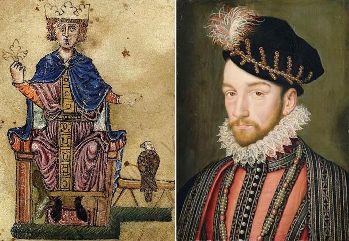 Изображение Фридриха II из его книги «Об искусстве охоты с птицами» (конец XIII века, Ватиканская апостольская библиотека) и Карл IX, король Франции