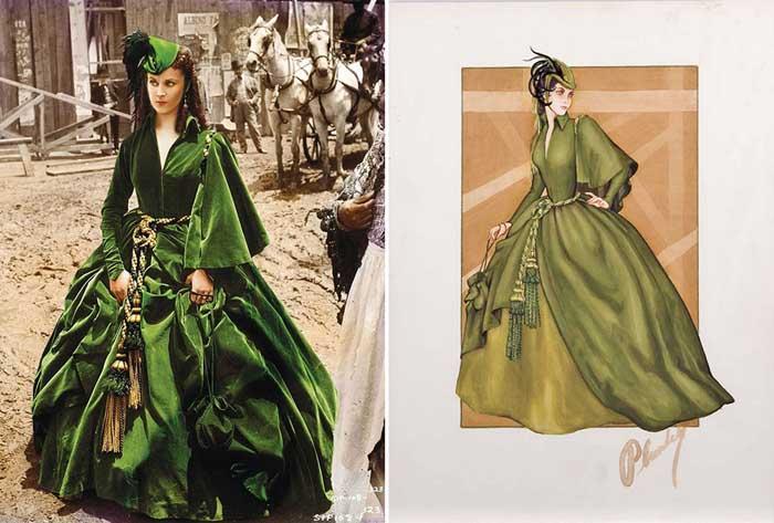 Кадр из фильма «Унесенные ветром» и эскиз платья Уолтера Планкетта