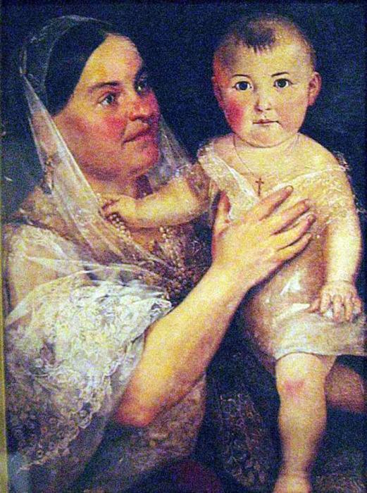 Дарья Евдокимовна Пожарская с младенцем на руках, портрет кисти Тимофея Неффа