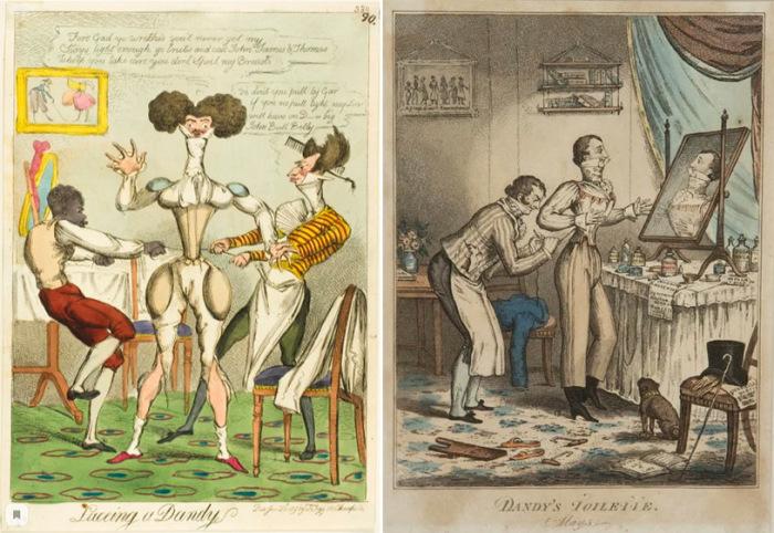 Карикатуры начала XIX века – денди, надевающие корсет
