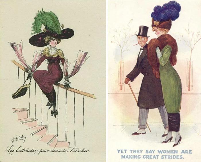 Как стоит спускаться по лестнице тем, кто носит хромую юбку. / А еще говорят, женщины любят погулять.