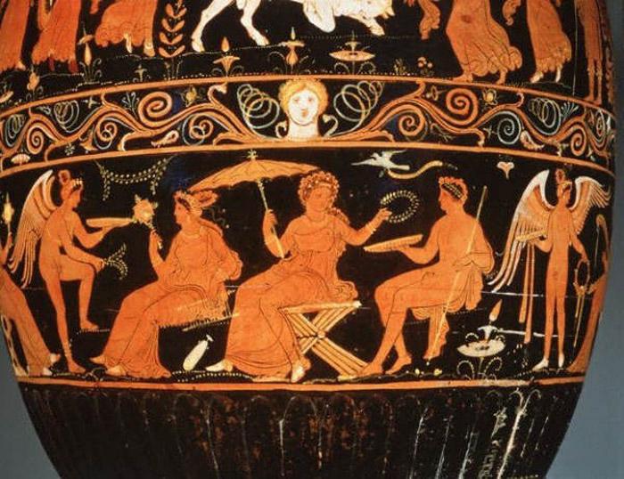 Зонт на росписи древнегреческой вазы