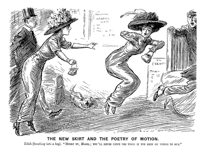 Эдит (принимаясь прыгать): - Поспеши, Мэйбл, ты же ни за что не успеешь на поезд, если будешь пытаться бежать.