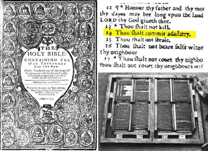 «Злая Библия» или «Библия прелюбодеев» - титульный лист, страница с опечаткой и приспособление для ручного набора текста