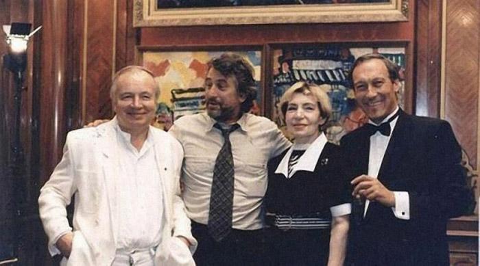 Андрей Вознесенский, Роберт Де Ниро, Зоя Богуславская и Олег Янковский, Москва, 1987 год