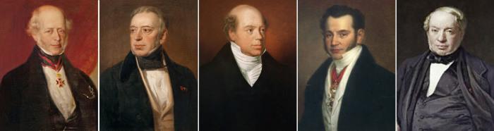 Пять сыновей Майера Ротшильда: Амшель, Соломон, Натан, Кальман и Джеймс