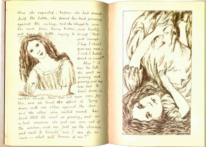 Страницы из первой рукописи Льюиса Кэрролла «Приключения Алисы под землей» с иллюстрациями автора