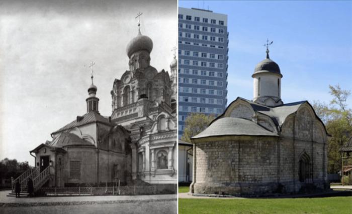 Храм Трифона в Напрудном до революции и сохранившийся после взрыва придел в наши дни