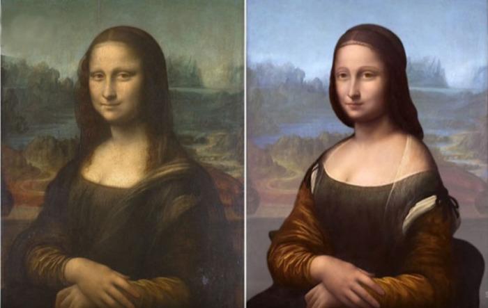 Леонардо да Винчи, «Мона Лиза» и результат реконструкции нижних слоев краски, проведенный методом Layer Amplification Method