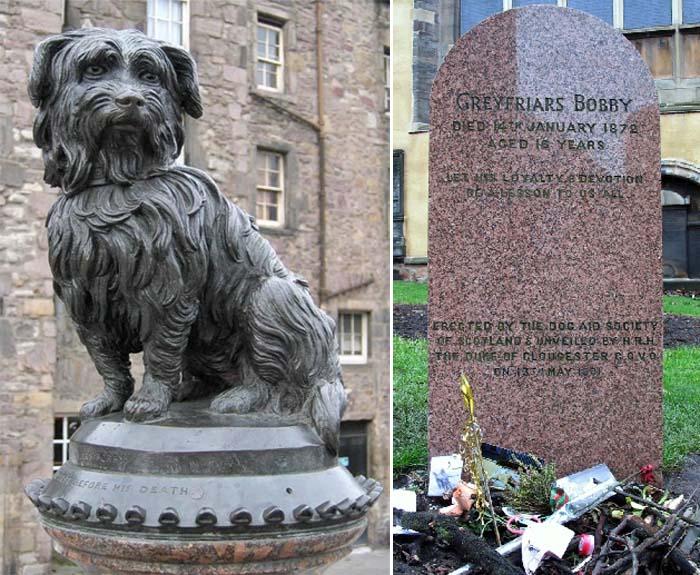 Памятник и надгробный камень Грейфрайерса Бобби, расположенный на кладбище Greyfriars Kirkyard, Эдинбург, Шотландия