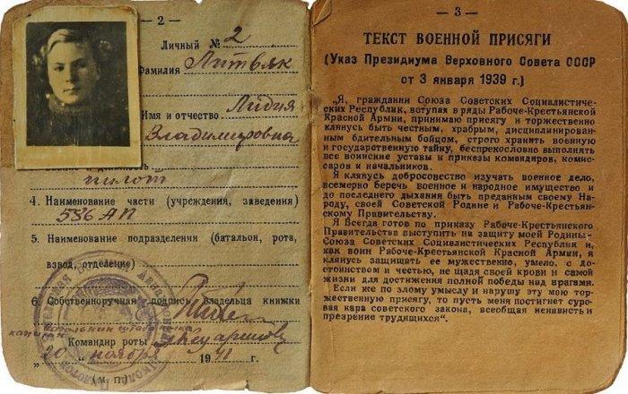 Красноармейская книжка Л.В. Литвяк